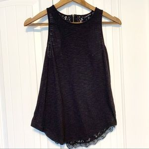Lucky Brand Black Back Lace Sleeveless Top XS